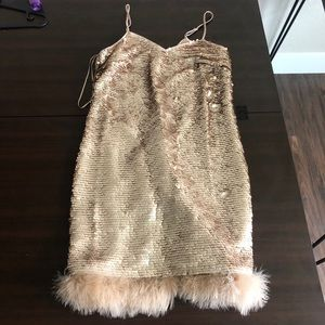 NWT cece party mini sequins dress with feathers